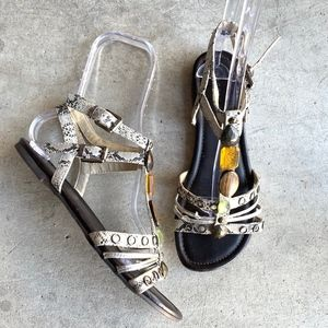 Madden Girl Snakeskin Ankle Strap Open Toe Sandals
